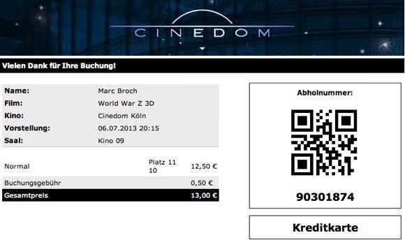 Cinedom Online Buchung