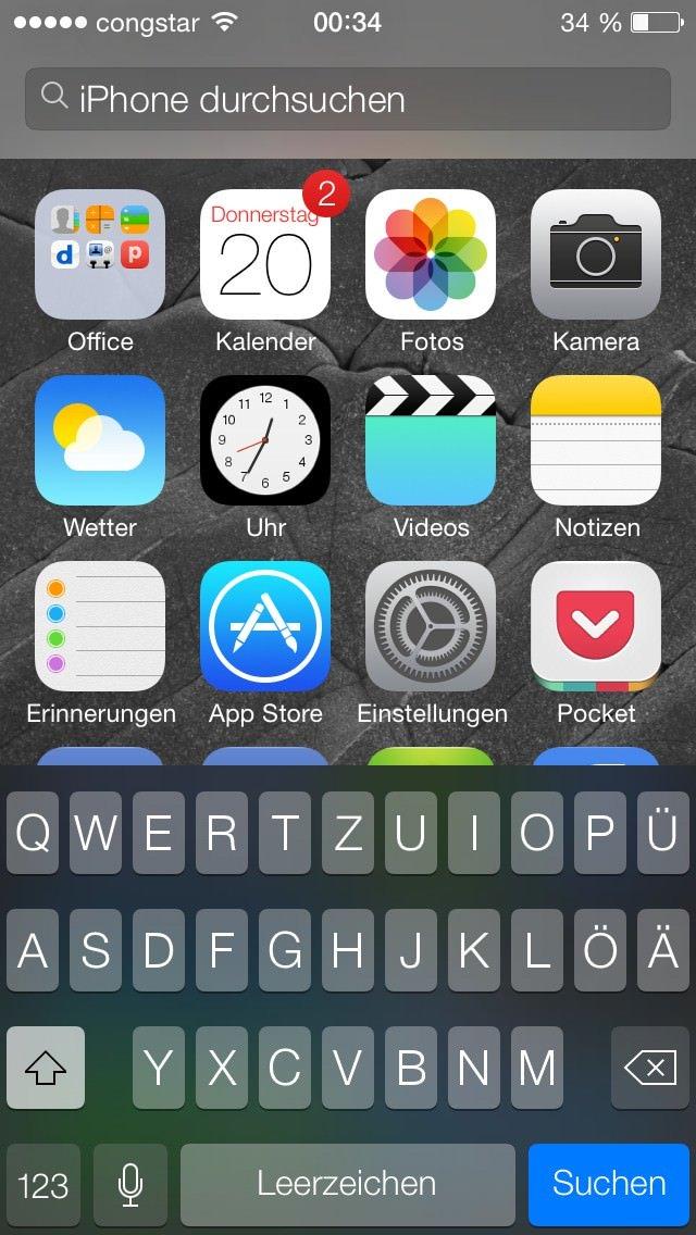 Spotlight Die Spotlight-Suche kann jetzt von jeder Seite des Homescreens gestartet werden, indem eine Wischgeste von oben nach unten auf dem Display gemacht wird.