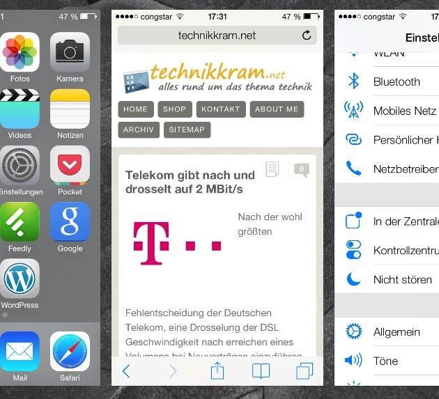 Multitasking 2x die Hometaste drücken, und schon sieht man eine Vorschau der geöffneten Apps und kann in diese wechseln. Um eine App zu schließen, streicht man sie nach oben heraus.