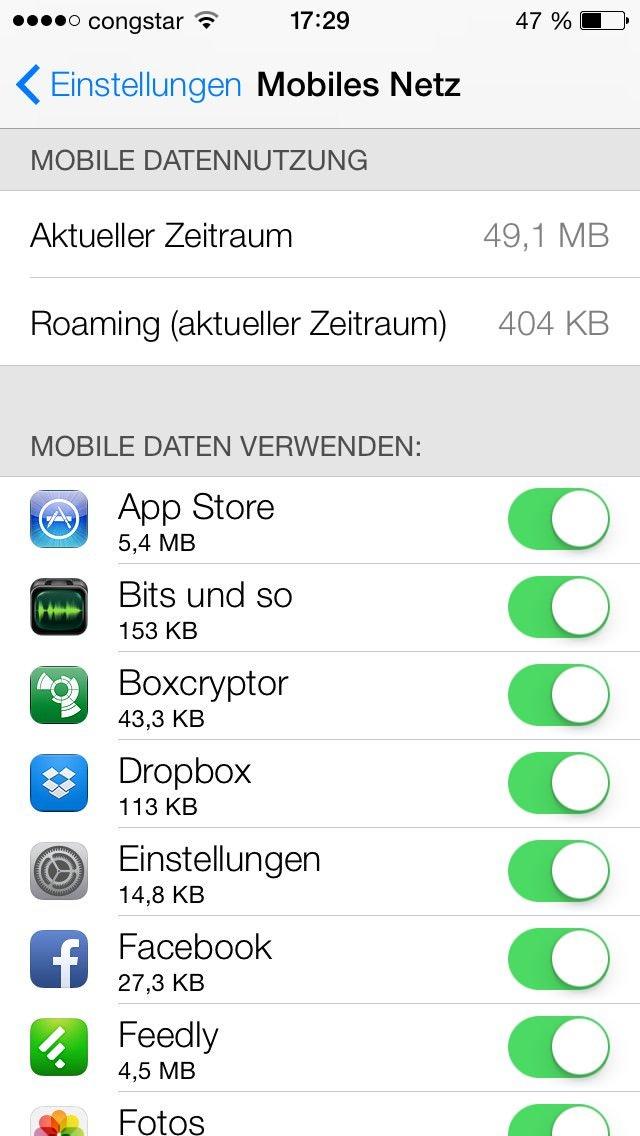 Den Datenverbrauch im Blick Endlich ist es direkt möglich zu sehen, welche App wie viel Daten verbraucht hat.