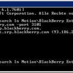 BlackBerry Router (SRP) Verbindung mit BBSRPTest prüfen