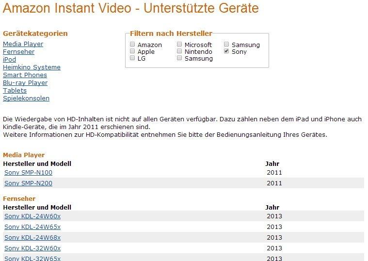 amazon instant video liste unterst tzter ger te