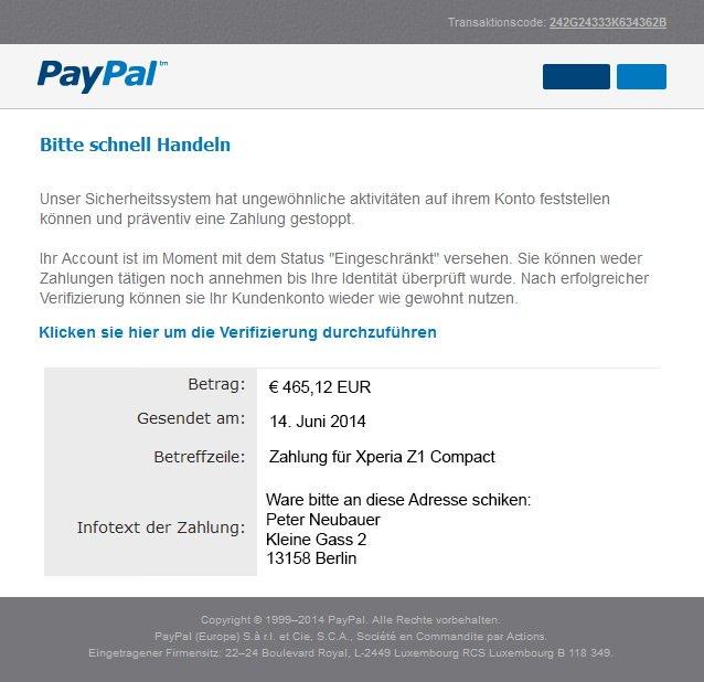 Paypal Sperren