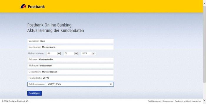 Phishing-Webseite Schritt 1: Eingabe der persönlichen Daten
