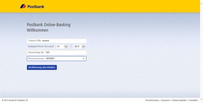 Phishing-Webseite Schritt 2: Abfrage von Kartendaten und Telefon PIN