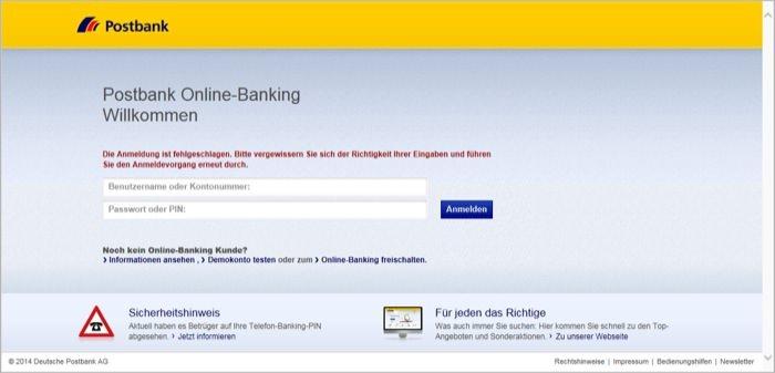 OriginalPostbank Online-Banking bei einer Fehleingabe