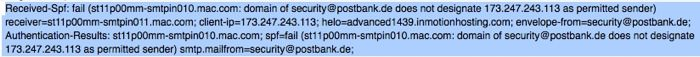 Der E-Mail Header der Postbank Phishing-Mail