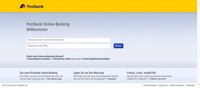 Phishingseite: Postbank Online-Banking (http://www.postbank-sicherheitscenter.de)