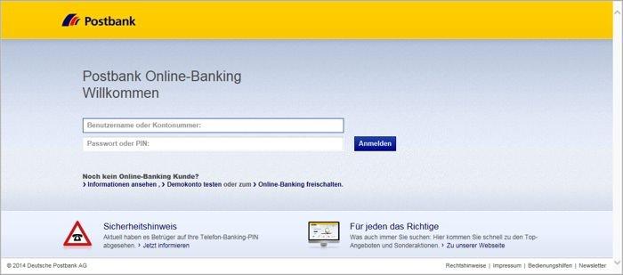 Original Postbank Online-Banking (https://banking.postbank.de)