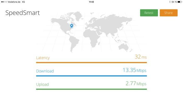 Speedtest im LTE (4G) Netz von Vodafone mit der kostenlosenSpeedSmartApp