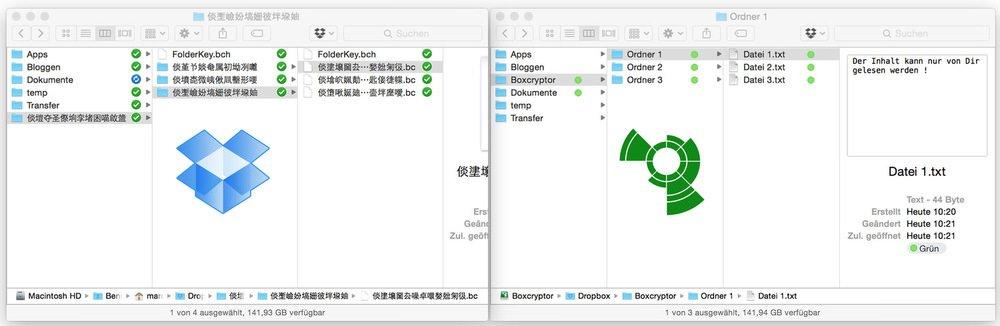 SelbesVerzeichnis inkl. Dateienbei Dropbox, aberder Zugriff ist nur mit Boxcryptor möglich.
