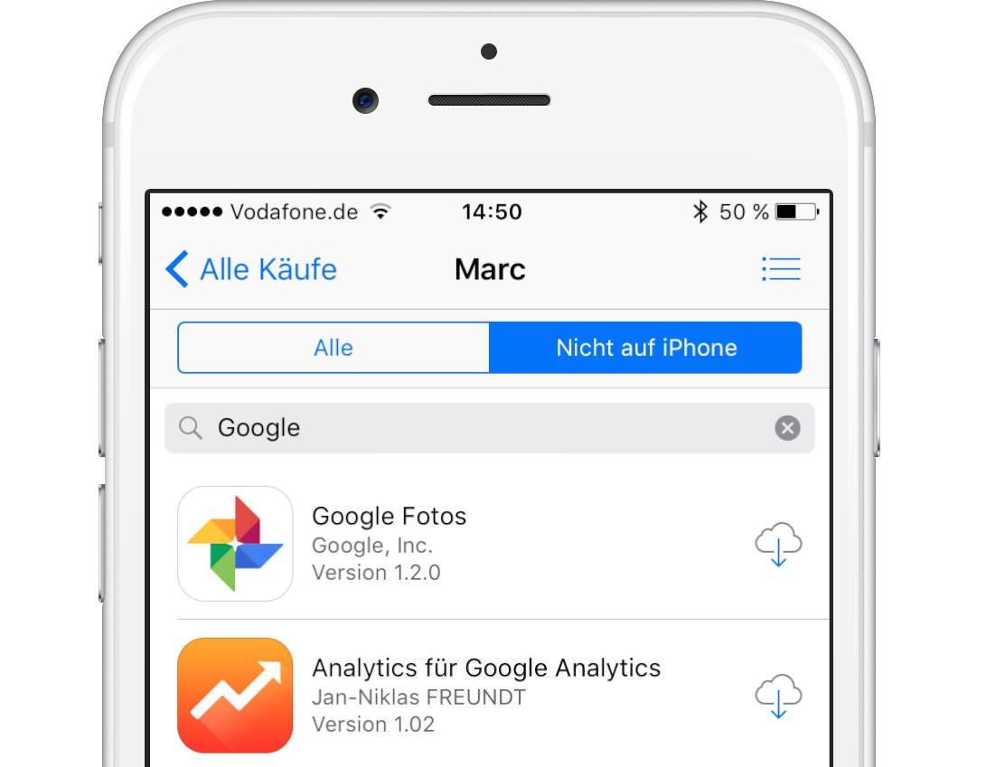 iOS Kaeufe suchen