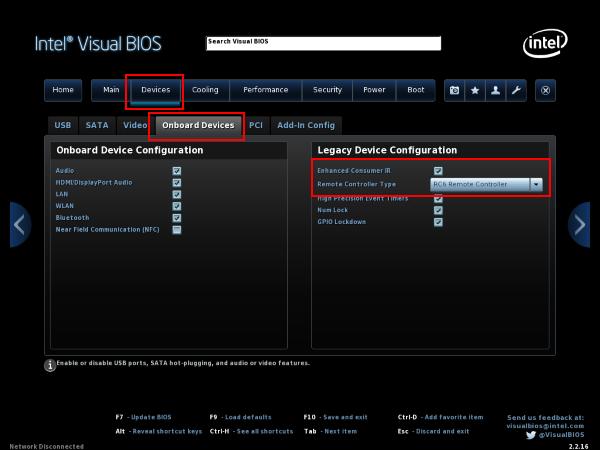 "Seite ""Devices"" des Intel Visual Bios"