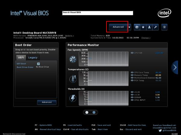 Startbildschirm des Intel Visual Bios