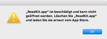Mac App Store App ist beschädigt 1