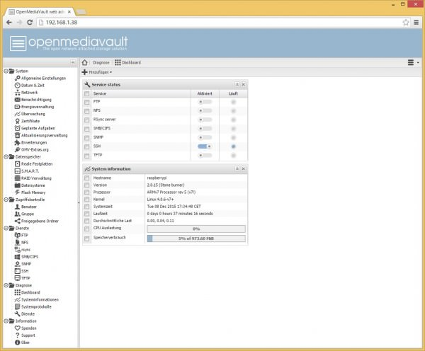 OpenMediaVault-dashboard