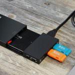 Externes 2,5″ werkzeugloses USB 3.0 Gehäuse mit praktischem 3 fach USB 3.0 Hub