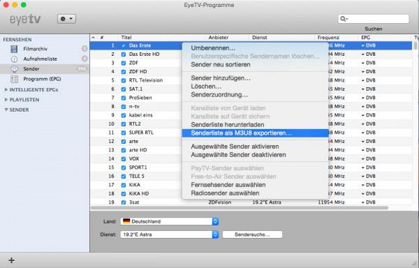 EyeTV Senderliste exportieren