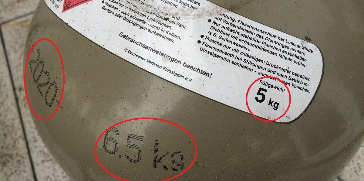 Informationen Gasflasche