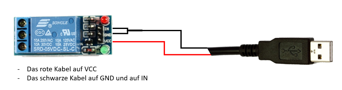 Anschluss 5V Relais USB
