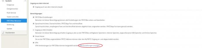 Fritz!VPN-Einstellungen