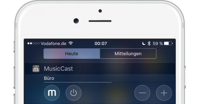 MusicCast bequem und schnell aus der Mitteilungszentrale steuern