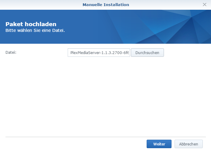 Plex-DSM-Paktupload