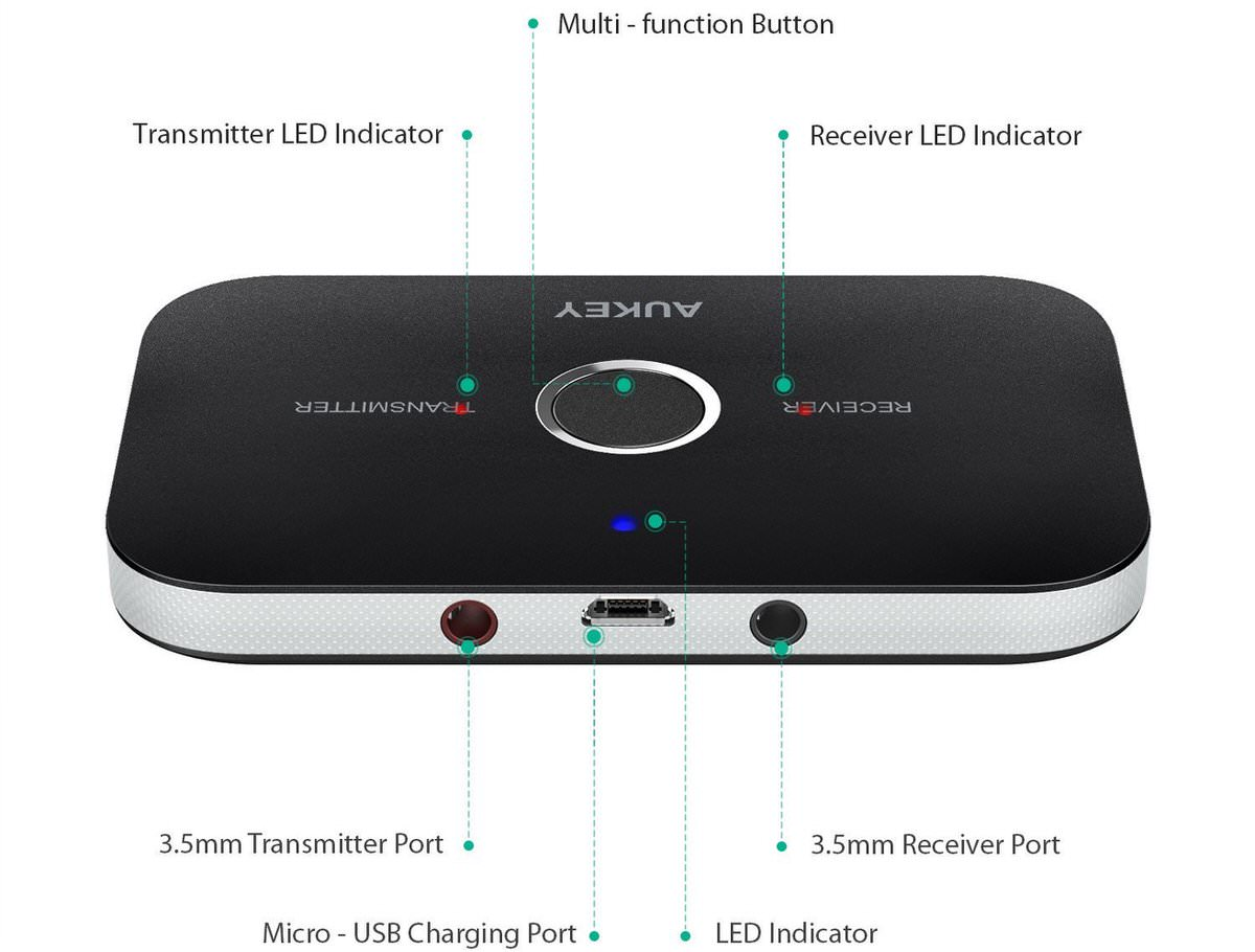 aukey bluetooth transmitter und receiver in einem f r nur. Black Bedroom Furniture Sets. Home Design Ideas