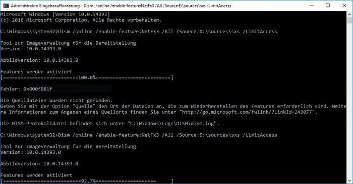 Microsoft .NET Framework 3.5 unter Windows 10 installieren