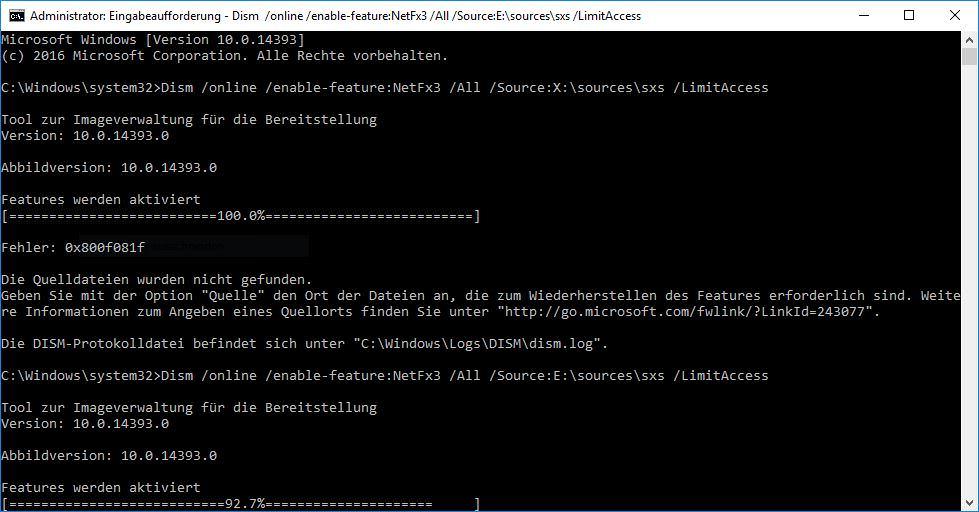 Microsoft .NET Framework 3.5 unter Windows 10 installieren ...