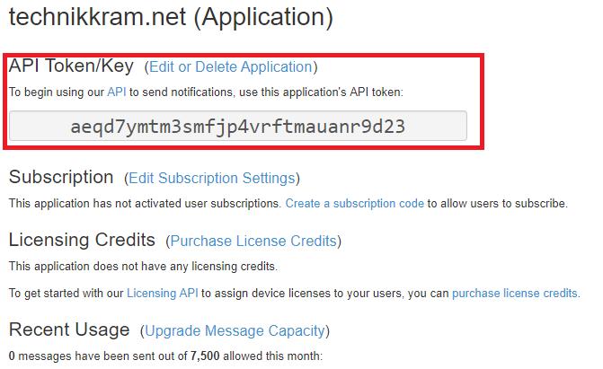 pushover API Token