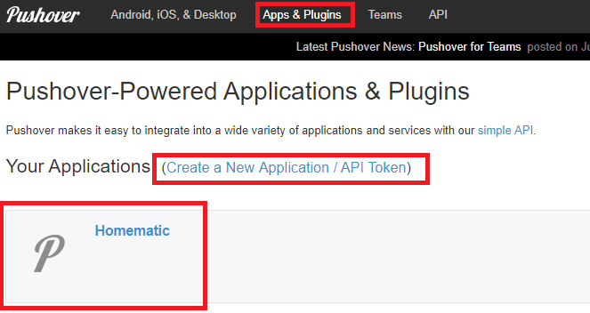 Pushover create API Token