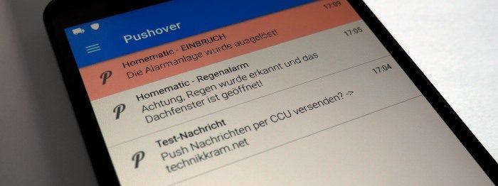 Homematic Meldungen als Push Nachricht via Pushover an das Smartphone schicken