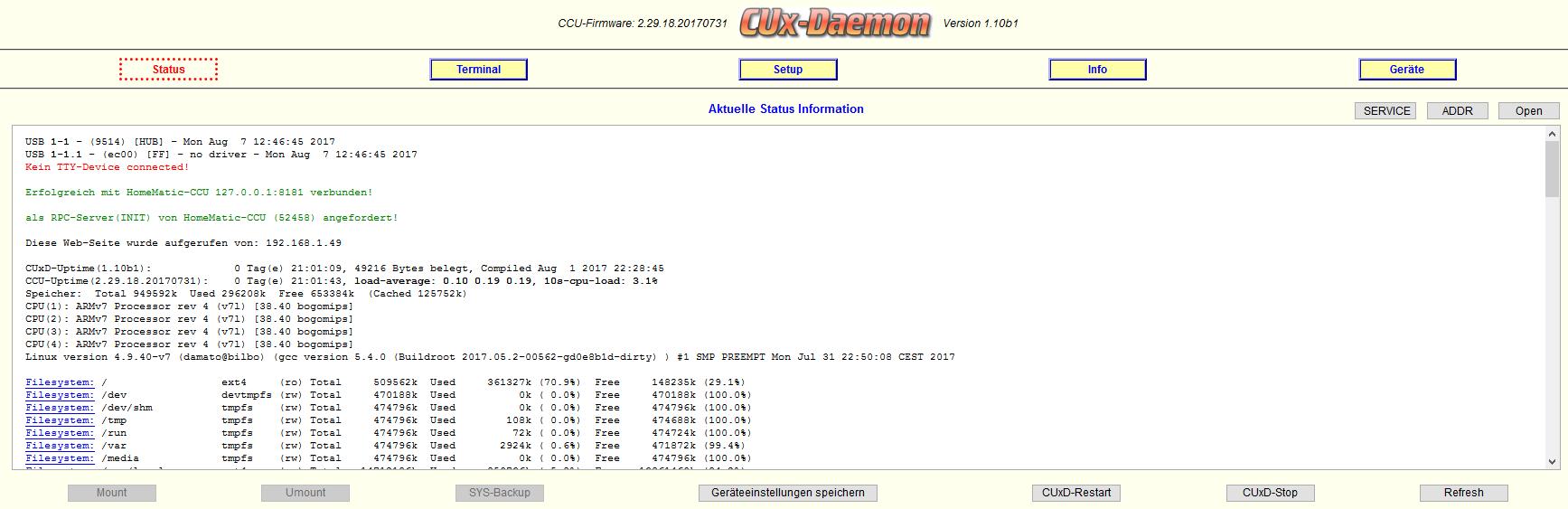 HomeMatic & RaspberryMatic: AddOn CUx-Daemon (CUxD) – System.Exec ersetzen
