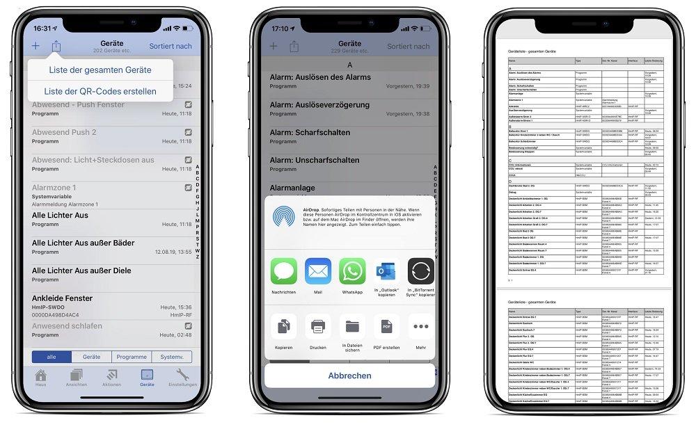 Screenshot von PocketControl zur Erstellung einer PDF-Datei